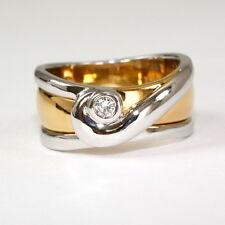 Massiver Ring in 585 Gelbgold/Weissgold mit Brillant 0,07 Carat w.si.