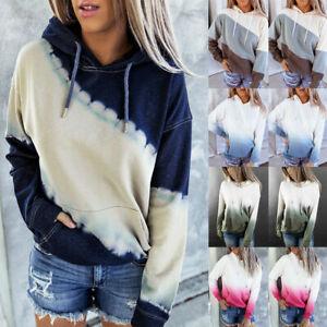 Womens Tie Dye printing Hoodie Gradient Pastel Hoody Festival Gift Pocket Tops