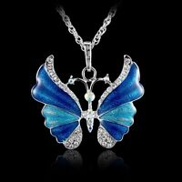 Classics Butterfly Crystal Rhinestone Pendant Necklace Long Chain Women Jewelry
