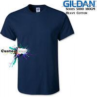 Gildan T-SHIRT Navy Blue Basic tee 3XL 4XL 5XL Big Men's Heavy 100% Cotton