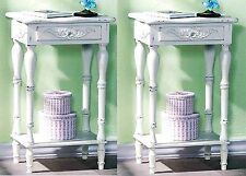 "Set of Two (2) ** WHITE CARVED 28"" SIDE~END~NIGHT TABLES *Drawer & Shelf* NIB"