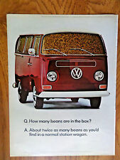 1968 VW Volkswagen Bus Ad  How Many Beans are in the Box?
