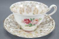 Royal Albert Bone China Pink Roses & Gold Floral Chintz Tea Cup & Saucer C. 1950
