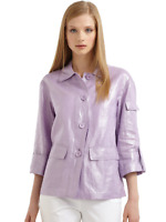 Lafayette 148 NY Lavender Metallic Linen Jacket 3/4 Sleeves Sz L Button $159