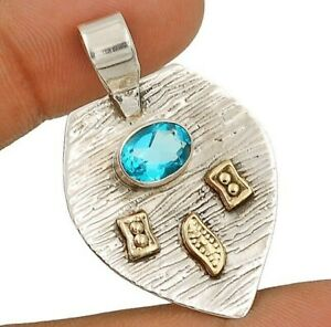 Two Tone Flawless Blue Topaz 925 Solid Sterling Silver Pendant Jewelry, CT17-1