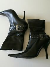 Dune black leather,zip,pointed toe, stiletto heel ankle boot size 38/5 vgc