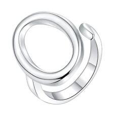 925 Argento PLT regolabile aperto ovale Dichiarazione Anello Cerchio Vuoto ZERO un pollice