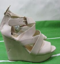"""Ivory 5"""" High Wedge Heel 1.5"""" Platform Open Toe front Straps Sexy Shoes Size 7.5"""