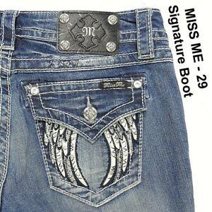 Miss Me Flap Pocket Signature Boot Embellished Wing Bling Rhinestones Sz 29 x 34