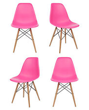 Set of 4 Eames Style DSW Molded Pink Plastic Shell Chair with Wood Eiffel Legs