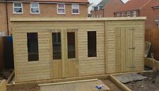 18 x 8 19mm Tanalised & Pressure Treated T&G Pent Combi Shed/Summerhouse