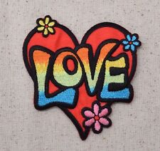 Love Heart - Multi-Color - Flowers - 60's - Iron on Applique/Embroidered Patch