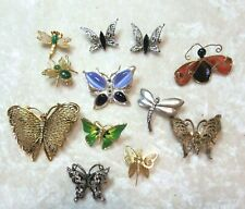 Vintage Lot - 12 Misc. Butterfly & Bug Brooches & Pins - Wear/Repair