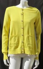 $139 Cabi #3010 Yellow Gray Colorblock Belle Sweater Cardigan Cami Top size M