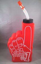Orange Sports We're #1 Foam Finger Drinking Bottle Straw Cap Team Party Water