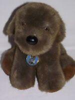 "Dakin Puppy Dog Plush 1986 w/ Tags Dark Brown Stuffed Animal Vintage 9"" Korea"
