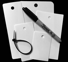 Blank White Plastic Tags Assorted Sizes with Ties and Pen