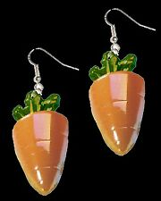 Huge Funky CARROTS EARRINGS Easter Bunny Rabbit Fun Food Novelty Costume Jewelry