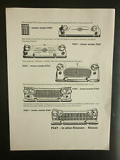6/1962 PUB FIAT FIAT 500 FIAT 1100 1300 1500 1800B 2300 GERMAN CAR AUTOS AD