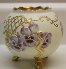 Antique PH Leonard Austria Hand Painted Porcelain Footed Bowl Purple Flowers