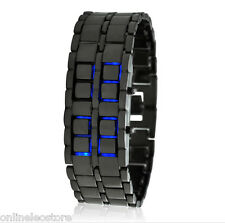 "Japanese Style Inspired Blue LED Watch ""Ice Samurai"""