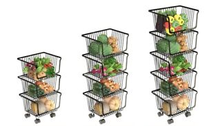 3/4/5 Tier Multifunction Fruit Vegetable Basket Storage Moving Trolley Kitchen