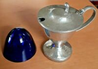 Antique My Lady English Hammered Pewter Lidded Pickle Server With Glass Insert