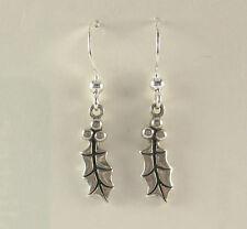 Holly Berry Dangle Earrings .925 Sterling Silver Christmas Stocking Stuffer