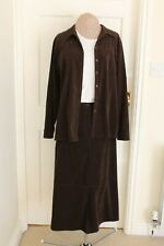 Brown suede look 3 piece suit trousers, skirt over blouse size 14-16 hardly worn