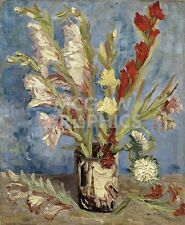 "vAN GOGH VINCENT-VASE W/GLADIOLI & CHINA ASTERS-ART PRINT POSTER 14"" X 11""(1619)"
