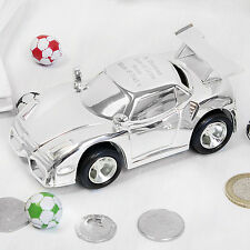Personalised Silver Plated Racing Car MoneyBox Christening,Newbaby,Birthday Gift