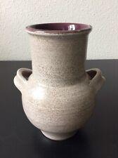 Vase à oreilles en céramique émaillée blanc violet signé Marcel Guillot XXème
