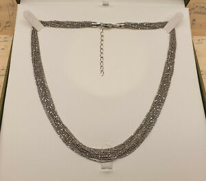 Vintage Italian 925 Sterling Silver Multi Strand Dress Necklace with Box