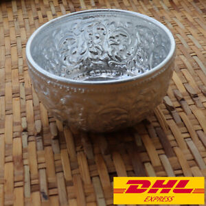 Thai Water Bowl Aluminium Collection Pattern Embossed Vase Spa Home Decor 2X