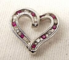 14K White Gold Diamond Natural Ruby Heart Pendant Estate .09 Carat Ornate Swirl