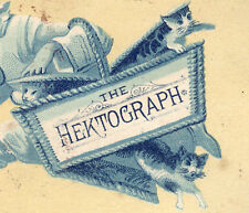 HEKTOGRAPH CO NY(EARLY COPIER) TRADE CARD, CLOWN STEALING BASKET OF KITTENS C891