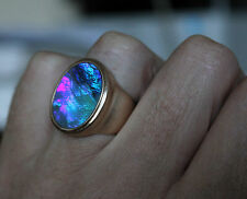 9ct Australian Black opal in14k solid yellow gold. Handmade Mens Ring. size 9.5-
