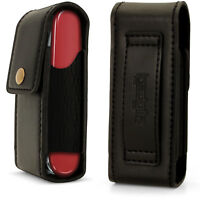 Black Genuine Leather Pouch Case Cover for Swiss Army Knives (Fit Victorinox)