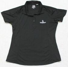 Black Polo Shirt Short Sleeve Medium Solid WoMen's Top Cutter & Buck CB DryTec