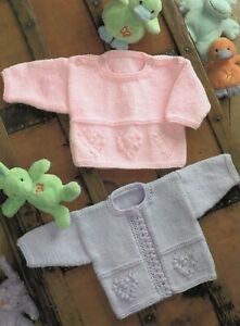 Baby DK Knitting Pattern Cardigan and Sweater Sizes 14-24 inches #03