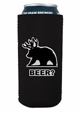 Beer Bear Funny 16 oz Pint Can Coolie, Choice of Color, Pounder, Tall Boy