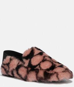 NIB - COACH Holly Monogram Genuine Shearling Loafers Slippers Pink/Black - SZ 9
