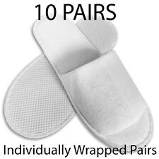10 pair,HOTEL,SPA,GUEST SLIPPERS OPEN TOE DISPOSABLE TERRY STYLE NEW UK supplier