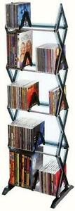 5 Tier Media Rack 130 CD Or 90 DVD BluRay Games IOn Clear Smoke Finish