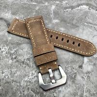 Für Panerai Luminor Marina Pam Uhren 24mm Grau Leder Uhr Armband