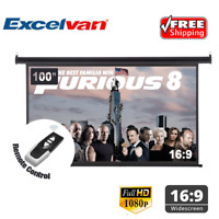 """100"""" 16:9 1.2Gain Electric Motorized Remote Projection Screen Movie Projector US"""