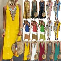 Lady Ladies Casual Boho Long Maxi Dress Summer Beach Kaftan Sundress Plus Size