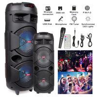 Wireless Portable Bluetooth 2 Speaker Home BT Party System + Mic Remote FM Radio