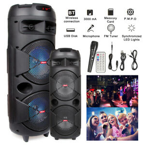 Wireless Portable Bluetooth 2 Speaker Home BT Party System + Mic Remote FM Radio