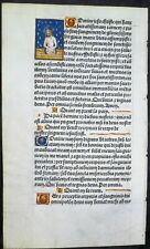 Ca.1500 Liturgical Book lf. handpainted deco.initials&a small miniature of Jesus